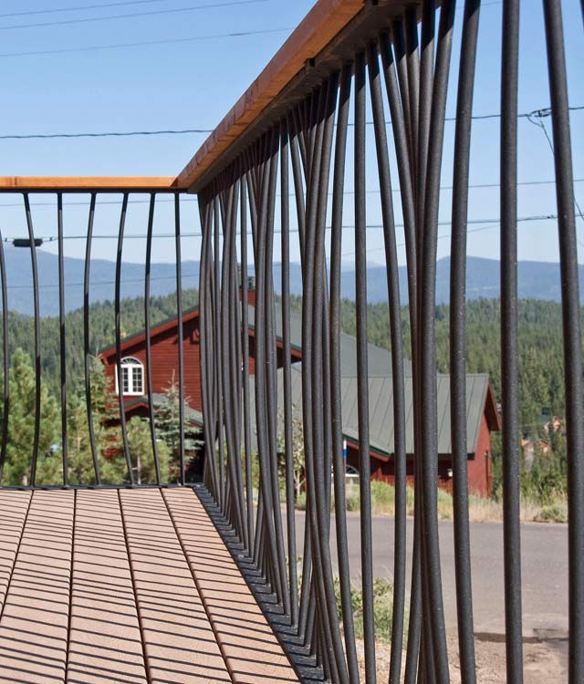 Ironwork on outdoor deck railing